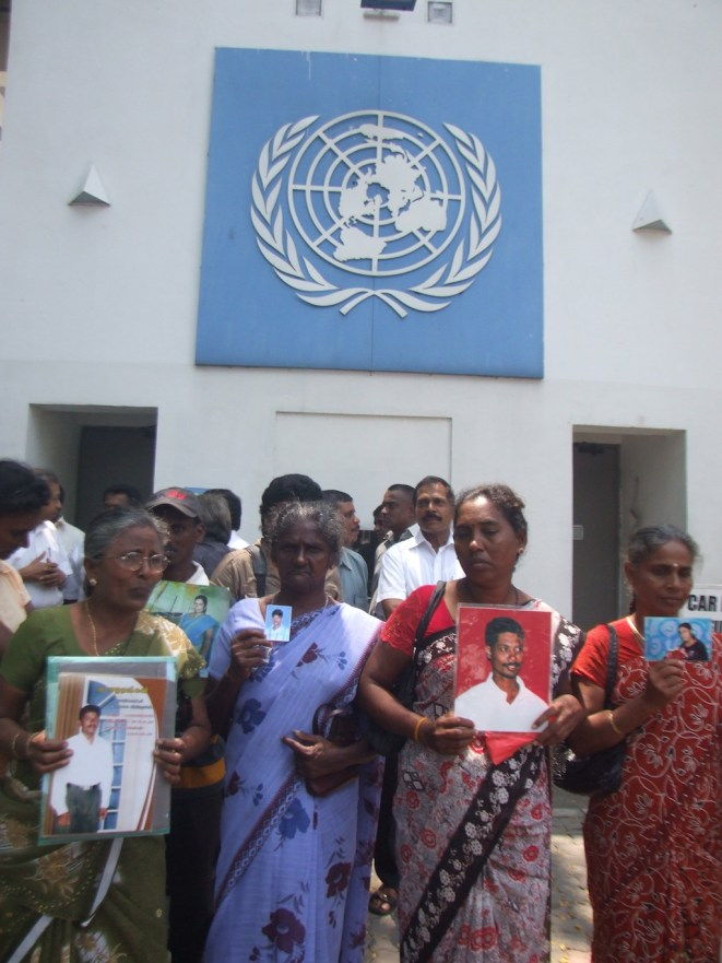Tamil mothers and wives whose sons, daughters and husbands have disappeared over the past few years, have recently gathered in front of the United Nations Office in Colombo