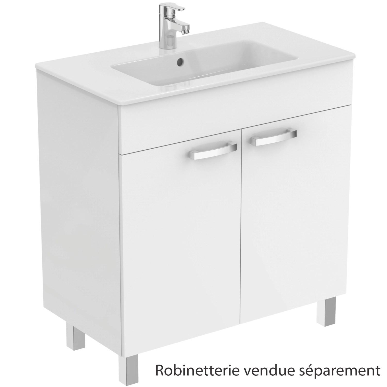 meuble sous plan et plan vasque ulysse sur pieds 2 portes 80 cm