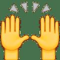 Osoba Apple podnosząc obie ręce w uroczystości emotikonami
