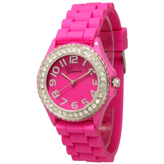 Geneva Womens Crystal Embellished Silicone Watches