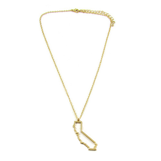 Gold Plated State Outline Necklaces