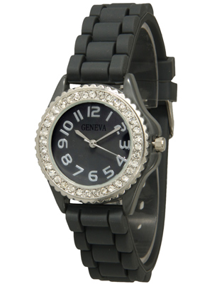 Geneva Womens Crystal Silicone Small Faced Watches
