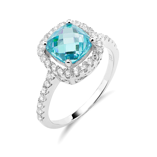 Sterling Silver And Colored Cubic Zirconia Birthstone Ring