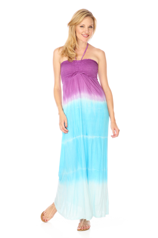 Purple Tie Dye Halter Maxi Dress