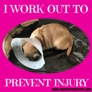 I work out to prevent injury. Picture of pug in a cone head.