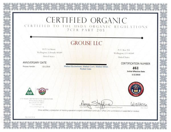 Grouse Organic Certification