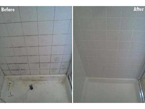 shower tile and grout cleaning before