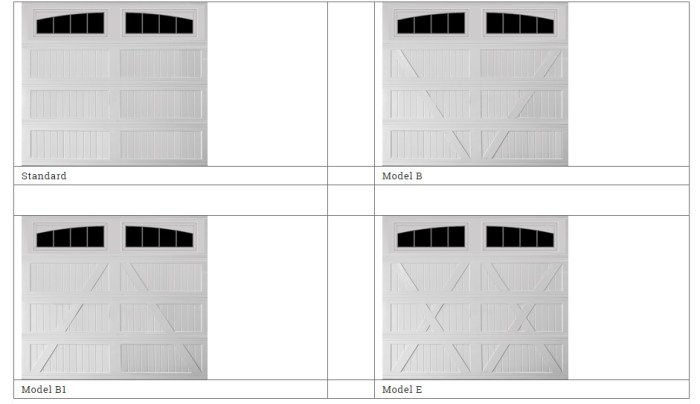 model styles of garage doors made by mid america