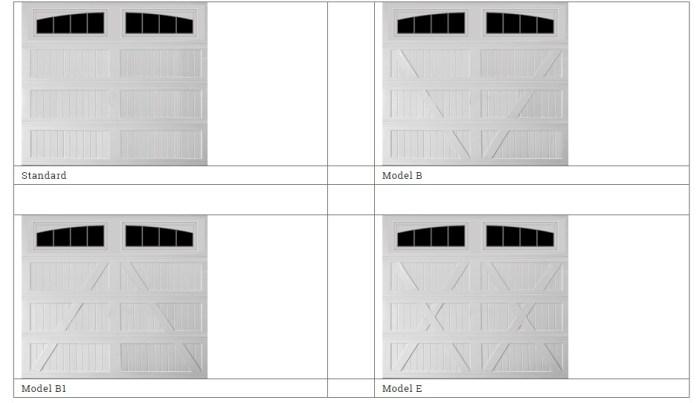 model styles of garage doors made by mid america