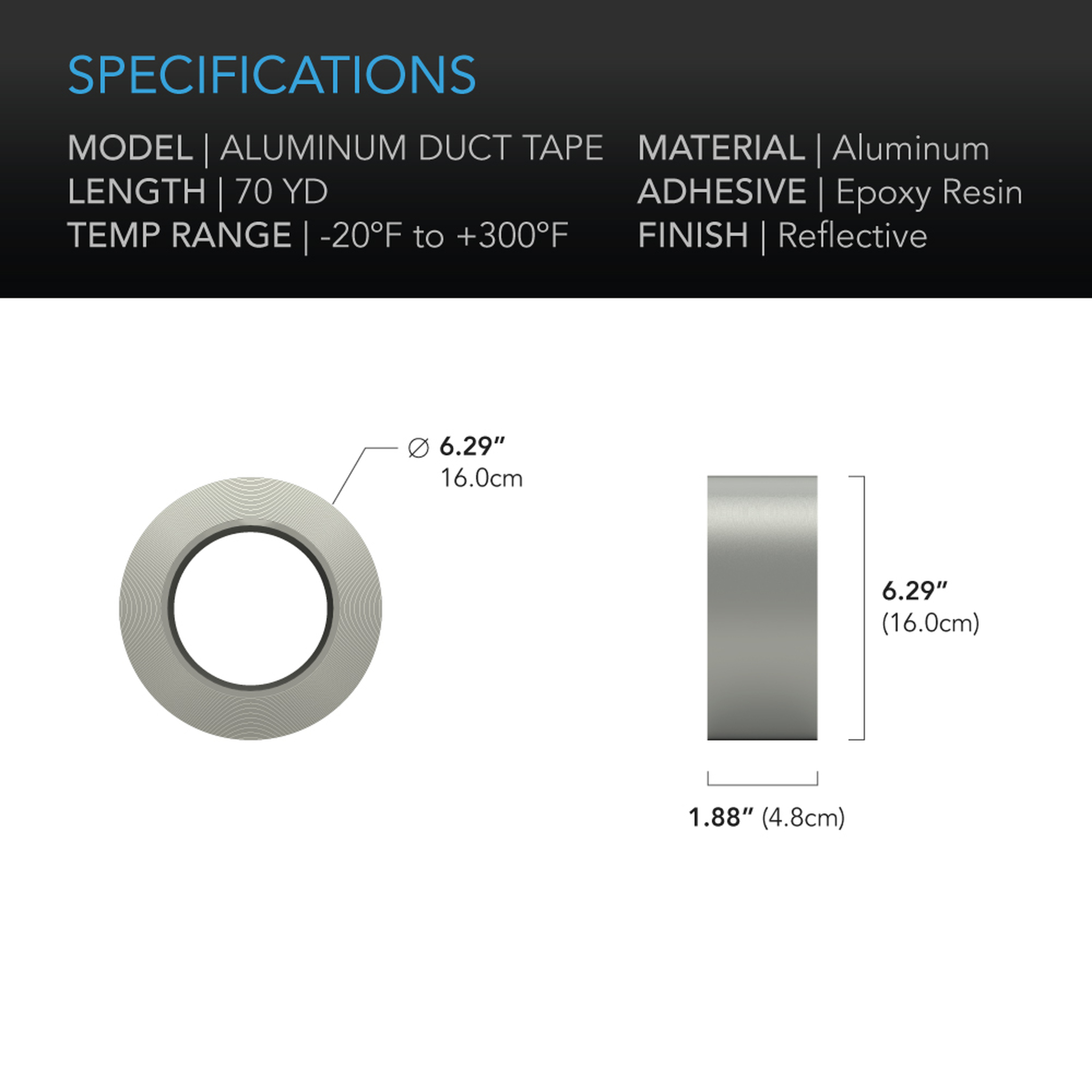 AC Infinity Aluminum Duct tape 70-yard specifications