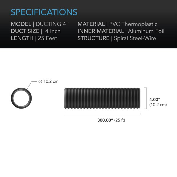 Duct tube 4 25' Specifications
