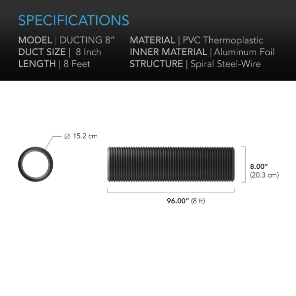 Duct tube 8 8' Specifications