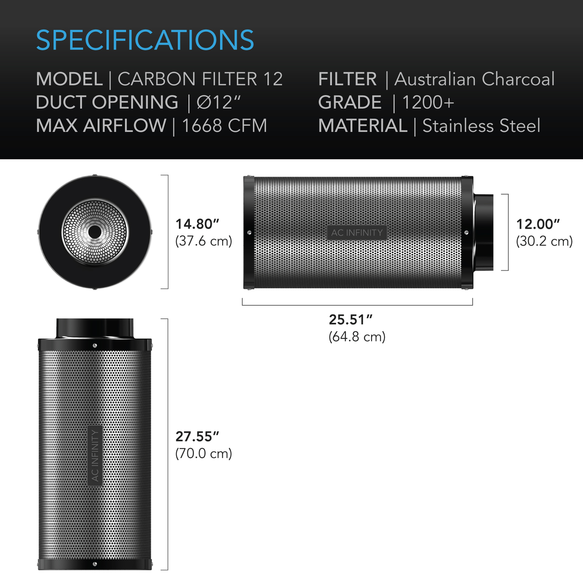 Duct Carbon Filter dimensions