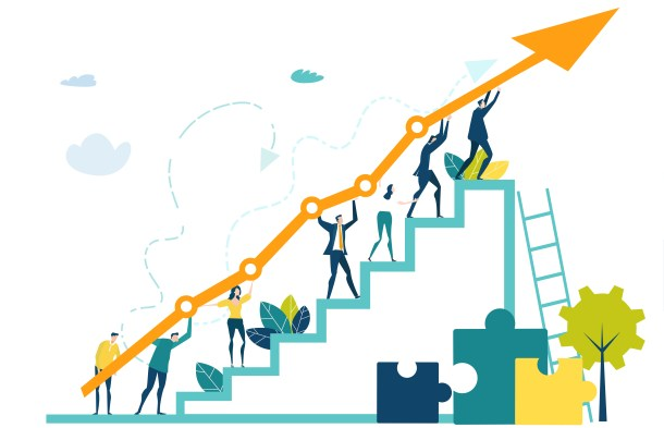 Business people walking up at the stars with arrow, which shows the growth up, success and financial developing. Business concept illustration
