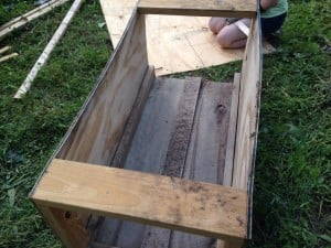 Working on the worm bin.