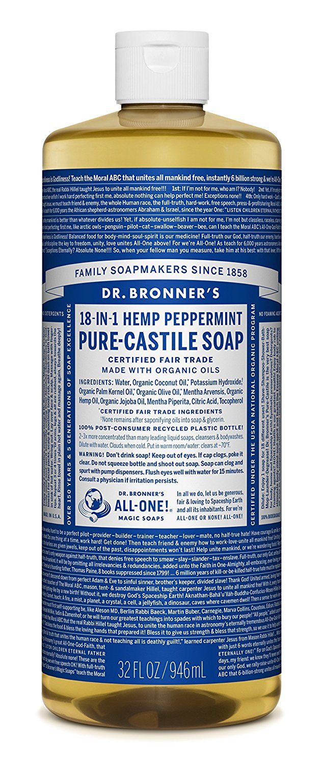 Dr. Bronner's Peppermint Castile Soap on Amazon