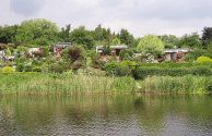 Allotments alongside a lake in Germany