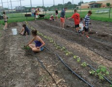 Campers working in the garden