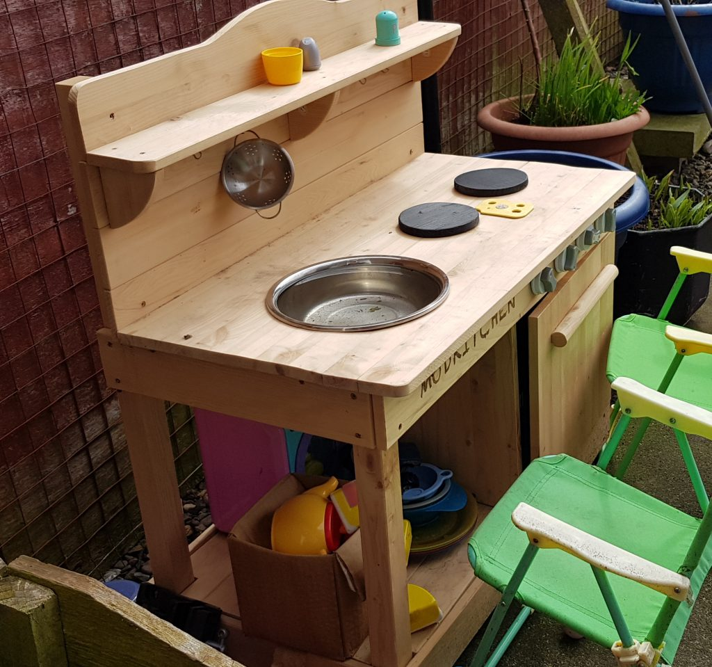 mud kitch is a great way to get kids out. one of the best christmas gifts for toddlers i have bought yet