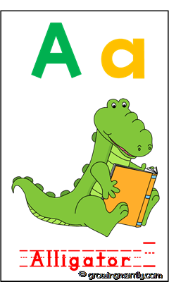 Alphabet Zoo - A for Alligator - Flash Card