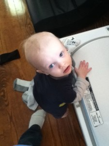 "My little laundry helper. He also likes to ""help"" unload the dishwasher."
