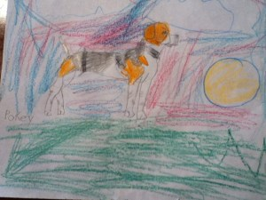 Oldest's rendition of our dog at sunset