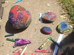 Melted crayon rocks