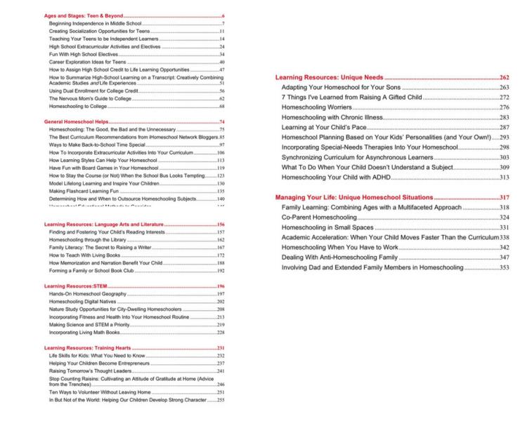 Big Book of Homeschool Ideas 2 | table of contents