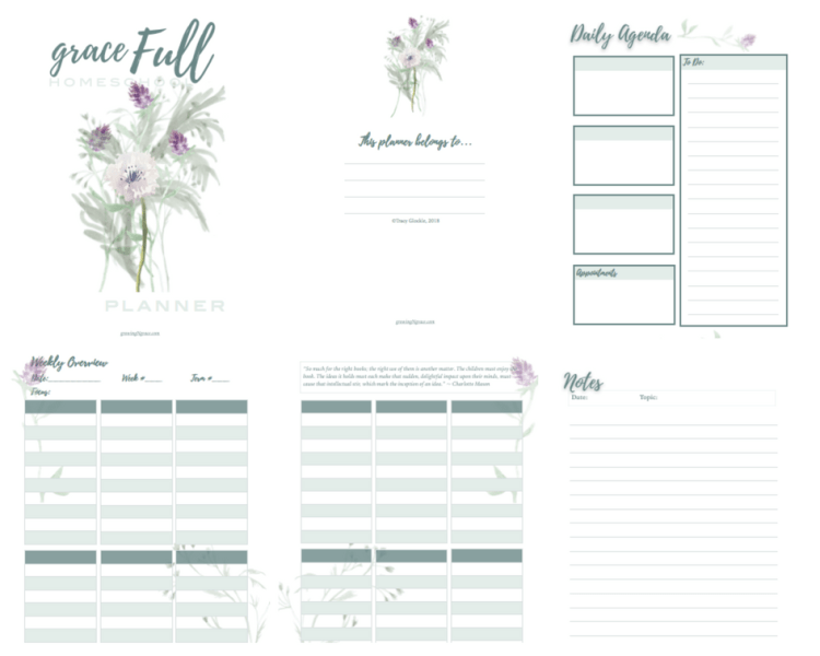 Free Homeschool Planner Growing In Grace