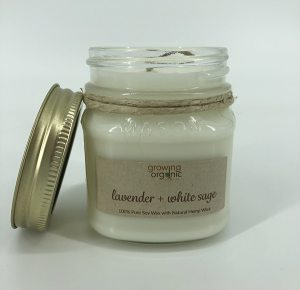 lavender white sage soy wax candle