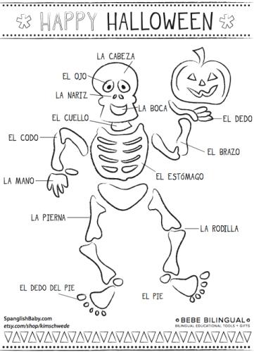 Skeleton Spanish Coloring Page