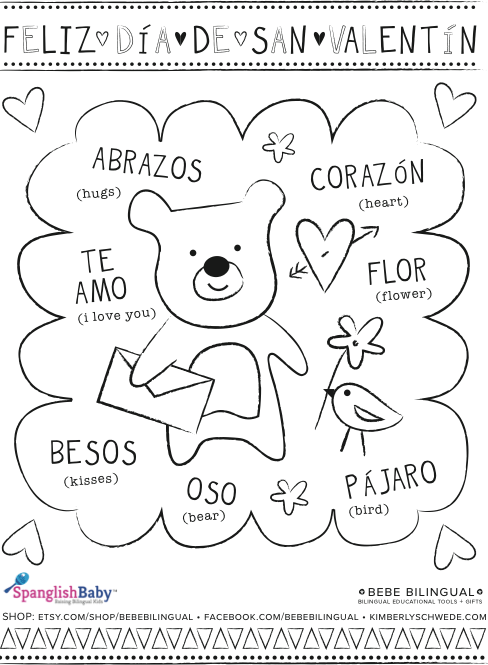 Spanish Activities Printables for El D a del Cari o Growing Up – Valentines Cards in Spanish