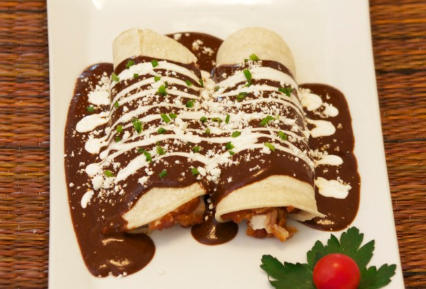 Top the enchiladas with some Mexican cream.