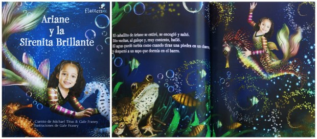 "Cover and inside pages of ""La Sirenita"" personalized book in Spanish by Flattenme."