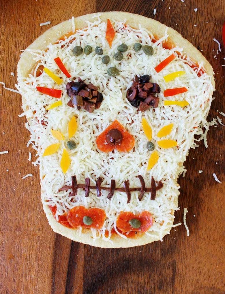 Dia de los Muertos skull pizza Day of the Dead