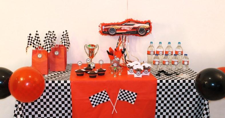 race car party decor treat table