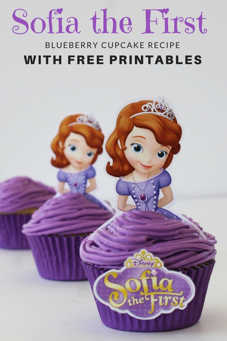Sofia the First Princess Blueberry Cupcakes - Free Printables