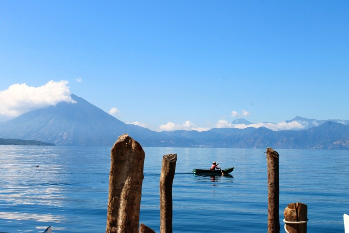 Lake Atitlan, view of the lake and the volcanoes from the dock in Santa Catarina Palopó. Photo: Paula Bendfeldt-Diaz, all rights reserved.