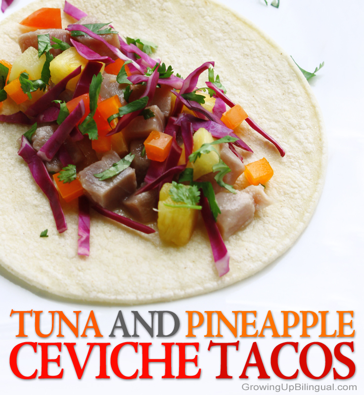 Tuna and pineapple ceviche tacos