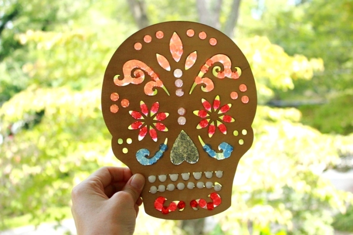 Day of the Dead skull sun catcher craft