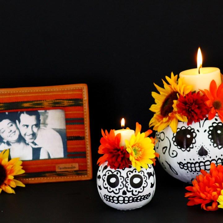 Day of the Dead DIY calavera pumpkin candle decor