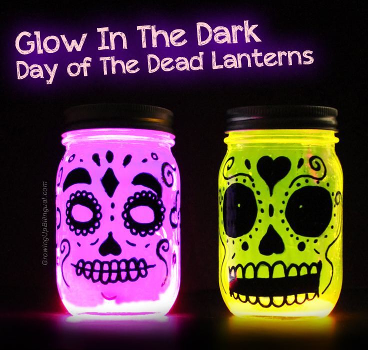 Day of the Dead skull glow in the dark easy to make DIY lanterns.