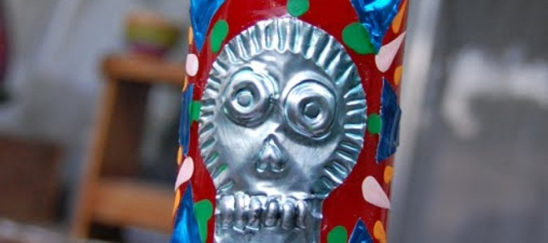 Day of the Dead Skull Embossed Candle by Crafty Chica