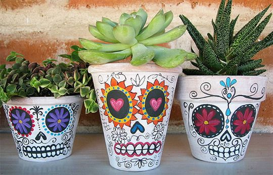 Sugar Skull Planters for Day of the Dead