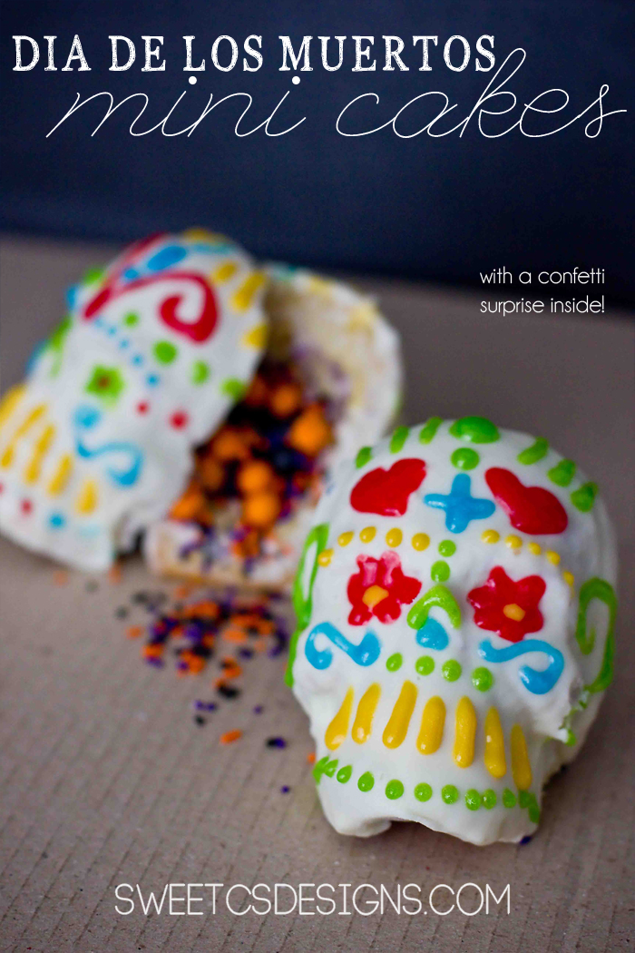 Day of the Dead sugar skull mini cakes with a surprise!