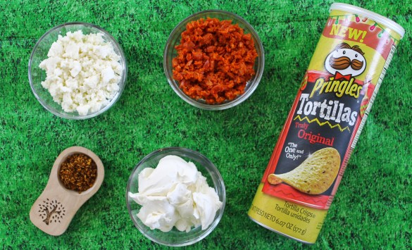 ingredients for the football cheese ball with chipotle and chorizo