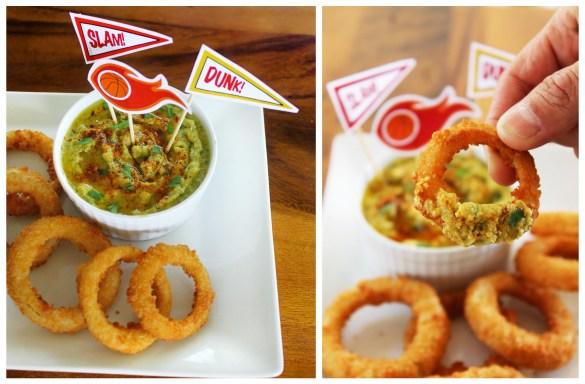 onion rings and spicy avocado cilantro hummus