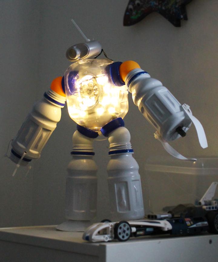 DIY plastic bottle robot night light!