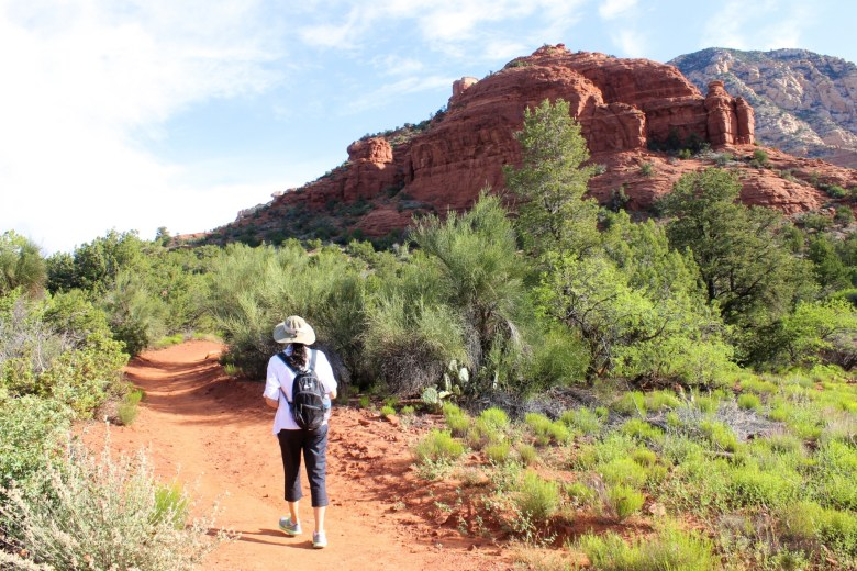 hiking in Sedona's red rocks, Thunder Mountain trail
