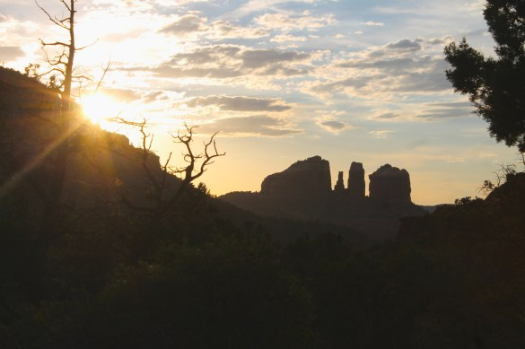 sunset behind red rocks in Sedona